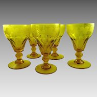 Set of 5 Vintage Wheel Cut Crystal Wine Glasses Water Goblets Uranium Amber