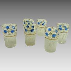 Set of Six Vintage Aperitif Cordial or Shot Glasses Enamel Decorated