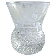 Vintage Edinburgh Shot Glass Thistle Pattern Cut Glass