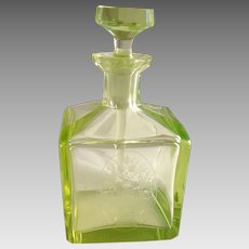 Vintage Art Deco Vaseline Glass Perfume Cologne Bottle