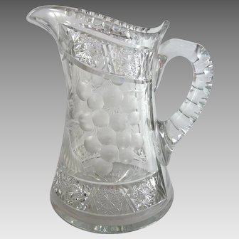 Antique Tuthill Cut Glass Pitcher Intaglio Grapes ABP ABPCG
