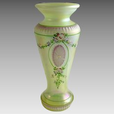 Fenton Vaseline Iridescent Hand Painted Numbered Vase