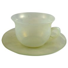 Vintage Fry Glass Opalescent Cup and Saucer