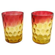 Pair of Antique Amberina Inverted Thumbprint Tumblers
