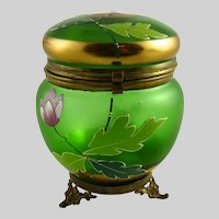 Antique Bohemain Glass Dresser Jar
