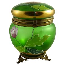 Antique Bohemain Glass Dresser Jar