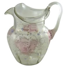 Antique Victorian Enamel Decorated Glass Pitcher