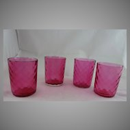 Diamond Optic Cranberry Glass Tumblers