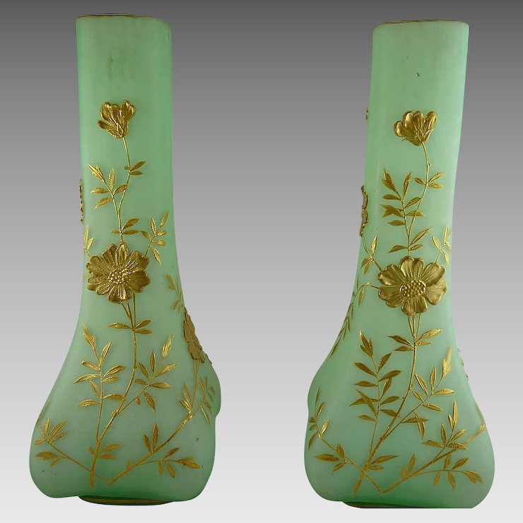 Pair Of Antique Victorian Satin Glass Mantle Vases With Gold