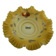 Antique Victorian Ruffled Enameled Center Bowl Amber Cased Satin Glass