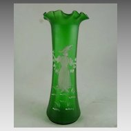 Victorian Satin Glass Mary Gregory Vase
