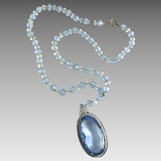 Vintage Art Deco Czech Glass Rhodium Filigree Pendant Necklace