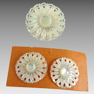 Vintage Carved Mother of Pearl Pin Earrings