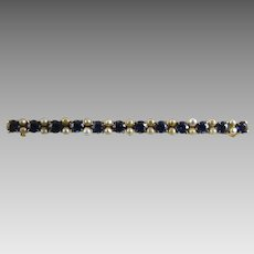 Antique Edwardian Spinel and Pearl Bar Pin 14K Yellow Gold