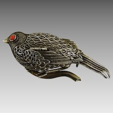 Vintage Chinese Export Filigree Pin Bird Vinaigrette