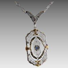 Vintage Art Deco Sterling Filigree Pendant Necklace