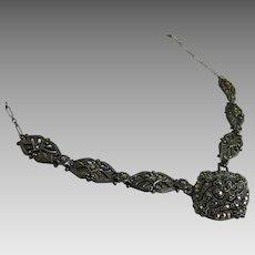 Antique Art Nouveau Sterling Silver Marcasite Necklace