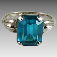 Vintage Sterling Silver and Aqua Glass Ring