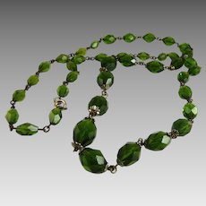 Vintage Art Deco Glass Bead Necklace Graduated Faceted