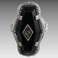 Vintage Art Deco Sterling Glass Filigree Ring