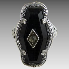 Vintage Art Deco Sterling Glass Filigree Ring