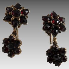 Antique Victorian Bohemian Garnet Drop Earrings
