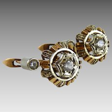 Vintage 18K Yellow Gold and Rock Crystal Earrings