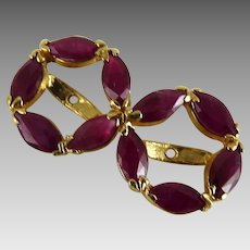 Vintage Ruby and 14K Yellow Gold Earring Jackets