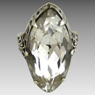 Vintage Art Deco Sterling and Glass Filigree Ring