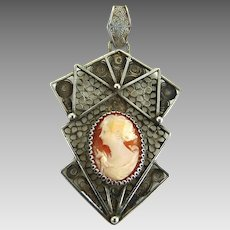 Vintage Art Deco Filigree Pendant with Shell Cameo