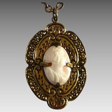 Vintage Shell Cameo Pendant in Brass Setting