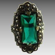 Vintage Art Deco Ring Uncas Size 3 Emerald Green Glass