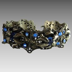 Antique Art Nouveau Panel Bracelet Blue Glass Stones