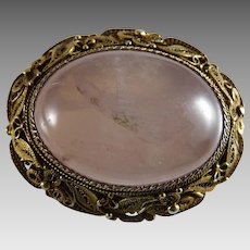 Vintage Chinese Export Gilt Silver Filigree Rose Quartz Pin