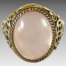 Vintage Chinese Export Rose Quartz Ring Gilt Silver Filigree