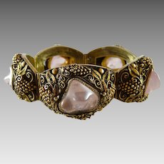 Vintage Chinese Export Bracelet Rose Quartz Gilt Silver Filigree