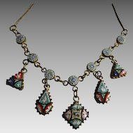 Antique Micro Mosaic Drop Dangle Necklace