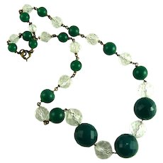 Vintage Art Deco Glass Bead Necklace Green Clear
