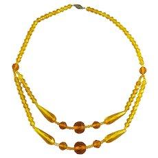 Vintage Art Deco Festoon Necklace Yellow Glass Beads
