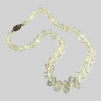 Vintage Art Deco Rock Crystal Bead Necklace Chinese