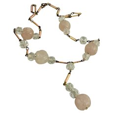 Vintage Art Deco Rose Quartz Crystal Enamel Necklace
