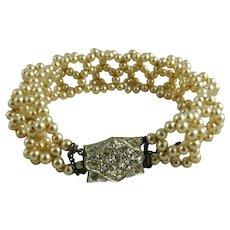 Vintage Faux Pearl Bracelet Rhinestone Catch
