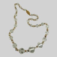 Vintage Glass Bead Necklace Clear with Gold Spacers