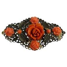 Vintage Brass Sash Pin Faux Coral Roses