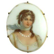 Antique Victorian Porcelain Portrait Brooch Pin