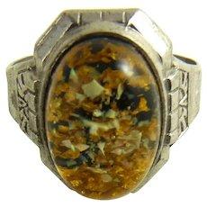 Vintage Uncas Sterling Lucite Ring Art Deco