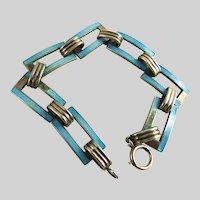 Vintage Sterling Silver and Guilloche Enamel Bracelet