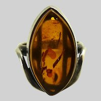Vintage Modernist Sterling Amber Ring