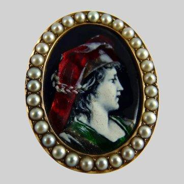 Antique Limoges Enamel Pearl Pin Brooch