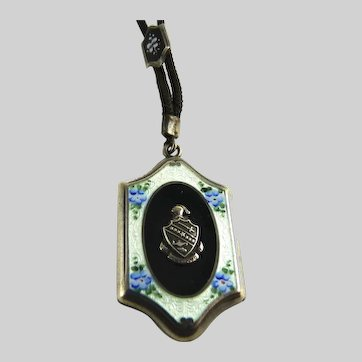 Antique Sterling Guilloche Enamel Locket Necklace